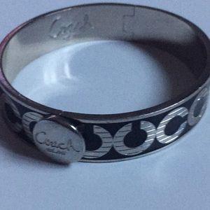 COACH signature silver and black bracelet cuff